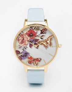 Image 1 of Olivia Burton Enchanted Garden Floral Face Leather Strap Oversize Dial Watch
