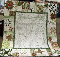 I have this quilt almost done in red and white.  I can't wait to display it this Christmas!
