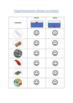 Drijven en zinken : Werkblad bij de experimenteerbak - Downloadbaar lesmateriaal - KlasCement Sensory Activities Toddlers, Brain Activities, Sensory Bins, Preschool Science, Science Experiments Kids, Preschool Worksheets, Daily Routine Schedule, Professor, School Readiness
