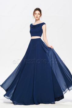 Navy Blue Two Piece Evening Dresses Long Navy Blue Two Piece Evening Dresses Long Party Wear Indian Dresses, Designer Party Wear Dresses, Indian Gowns Dresses, Dress Indian Style, Elegant Prom Dresses, Lovely Dresses, Navy Prom Dresses, Reception Dresses, Backless Maxi Dresses