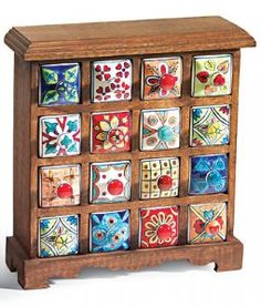 Mango Wood 16 Drawer Jewellery Chest with Ceramic Fronts