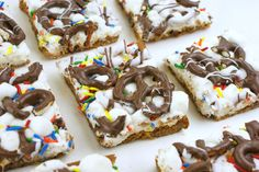 Cookie Confetti Bars! Chocolate chip cookie, marshmallow, chocolate covere pretzels and SPRINKLES.