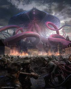 MtG Art: Emrakul, the Promised End from Eldritch Moon Set by Jaime Jones - Art of Magic: the Gathering Dark Fantasy Art, Fantasy Artwork, Arte Horror, Horror Art, Cthulhu, Eldritch Moon, Eldritch Horror, Monster Art, Lovecraftian Horror