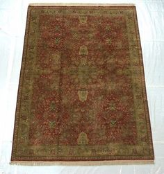 RRA 9x12 Indo Persian Polonaise Design Red and Olive Green Rug 39099