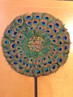 """Vintage Peacock Feather Hand Fan 13.5""""  Round  #Everyday"""