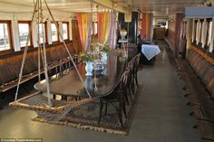 This large dining area used to be the enclosed cabin area for passengers when the vessel was still in operation years ago