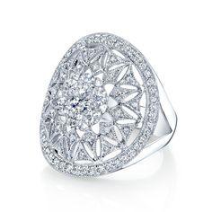 Coronet Diamonds Mini Kneph Diamond Right Hand Ring in 14k White Gold -0.83 Total Diamond Weight Conflict Free Round Brilliant Cut Diamonds Diamond Color - Near Colorless (G, H, I)  Diamond Clarity - VS/SI Clarity Coronet Solitaire Patented Cluster 14 Karat White Gold Size 7 Item# FW40728D3C