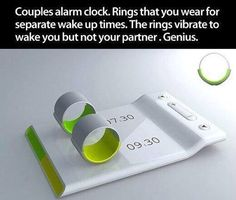 Couples alarm clock: rings that you put on your finger that vibrate to wake you up so that it doesn't wake up your partner. shut up and take my money! Intelligent Design, Inventions Sympas, Inspektor Gadget, Alarm Clock Design, Just In Case, Just For You, Cool Stuff, Take My Money, Cool Inventions