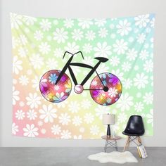004cf88be576 A colorful  decorative wall  tapestry for girls who love  cycling  society6