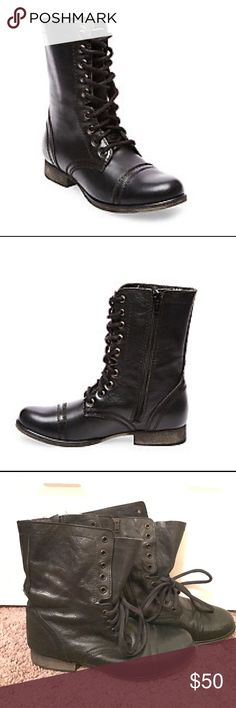 """Steve Madden Troopa Combat Boots Black leather Troopa combat boots by Steve Madden. 1"""" heel height. 7.5"""" shaft height. 11.5 shaft circumference. Side zip closure. Wear them laced up or open. Chic but edgy - serious statement shoe. Worn, but not often. Fits true to size. In great condition! Open to offers! Steve Madden Shoes Combat & Moto Boots"""