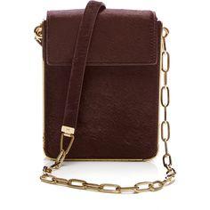 MUGLER Metallic Pony Aurora Bag (9.480 RON) ❤ liked on Polyvore featuring bags, handbags, shoulder bags, metallic shoulder bag, brown purse, haircalf handbags, long handbags and calf hair handbags