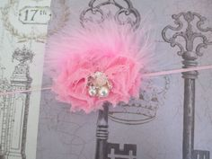 Petite Pink Shabby Chic Headband by GirlyBowsandThings on Etsy, $9.95