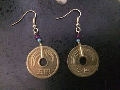 Turquoise/Purple Japanese Coin Earrings by Ruthnasia on Etsy
