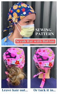 The Coolest Custom Frog Masks Designed By HAAaaa … Artistic Crochet & Cosplay Hook Up! Scrubs Pattern, Scrub Hat Patterns, Hat Patterns To Sew, Sewing Patterns Free, Free Sewing, Hat Pattern Sewing, Animal Patterns, Sewing Diy, Sewing Hacks