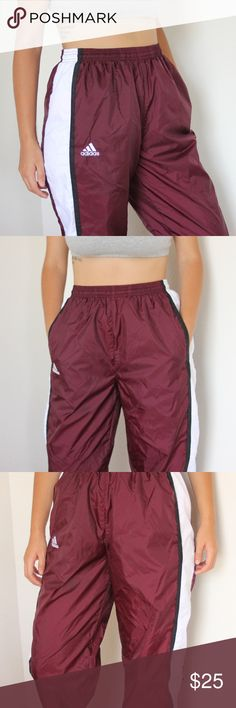 """Adidas Joggers mesh lined maroon and white Adidas joggers in excellent condition. they have """"Hannah"""" embroidered into them so i'm assuming these were part of a sports uniform. adidas Pants Track Pants & Joggers"""