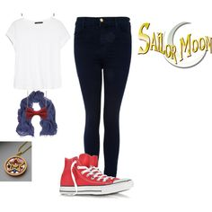 Sailor Moon Casual Cosplay by marykate-bailey on Polyvore featuring MANGO, J Brand, River Island, Converse and Maje