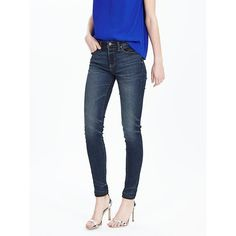 Banana Republic Womens Medium Wash High Waist Skinny Ankle Jean ($98) ❤ liked on Polyvore featuring jeans, medium wash, petite skinny jeans, super skinny jeans, super high-waisted skinny jeans, short skinny jeans and white jeans