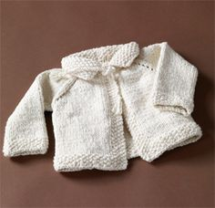 My favorite baby sweater to knit. Pretty easy but looks much more complicated. Definitely attach the ties to the edge of the collar--as instructed it's a strangulation hazard!