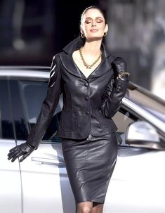 Sexy Leather Skirt and Jacket Suit Leather And Lace, Black Leather Skirts, Leather Dresses, Leather Gloves, Vintage Leather, Leather Jacket, Lambskin Leather, Brown Leather, Leder Outfits