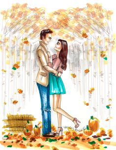 Falling for Fall  Illustration by Emily Brickel  For a customized version of you or as a gift contact me at Emily@EmilyBrickel.com xoxo