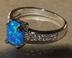 blue fire opal Cz ring gemstone silver jewelry Sz 7 elegant chic cocktail  H4