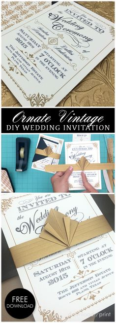 Gorgeous DIY vintage wedding invitation in black and gold. Grab the free template, also includes the matching RSVP card and envelope liner. The tutorial also shows you how to make the showstopper art deco belly band. It's easier than you think!