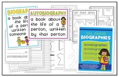 All About Biographies! This unit is perfect for 1st, 2nd, & 3rd grade and it includes: biography poster, autobiography poster, 2 worksheets/assessments to accompany both posters, autobiography activity {with all the pages needed to complete a book and an art activity}, and a homework assignment to help write autobiographies.