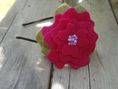 Hot Pink/Moss Beaded Felt Peony Headband-photo prop by M3GBoutique