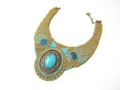 Golden Beads embroidery necklace embroidered by RasaVilJewelry