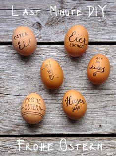 Ihr Lieben, ich sende ein Lebenszeichen von mir aus der Baustelle und wünsche Euch hiermit schöne Osterfeiertage. Wir hören uns wieder nach dem Baustellenendspurt, dem Umzug und dem Malern der alten Wohnung. Wer sehen möchte, wie's voran geht, schaut einfach mal auf Instagram vorbei. Für all diejenigen, die noch auf der Suche nach einer schnellen Osterdeko sind: Diese hier geht auch noch am Ostersonntag morgens. Einfach Eier mit einem Edding beschriften. Wer keine ausgeblasenen Eier hat, der…
