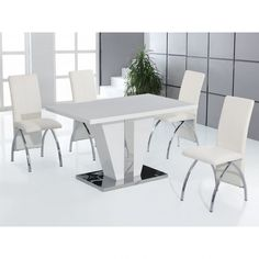 Haunt » Dining Sets » Costilla High Gloss Dining Table with 4 Chairs