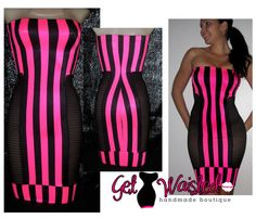Hot Tube Pencil DressJUST FAB Pink/Black stripes by GetWaisted, $80.00