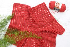 """How to crochet a hexagon sweater - step-by-step tutorial featuring Lion Brand Vanna's Style in the color """"Tomato."""""""