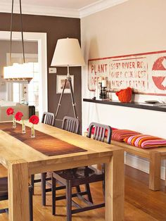 dining room with red