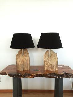 Tafellampen gemaakt van verweerd oud Eikenhout . Table lamps made of weathered old Oak made by GBHNatureArt. https://www.etsy.com/shop/GBHNatureArt?