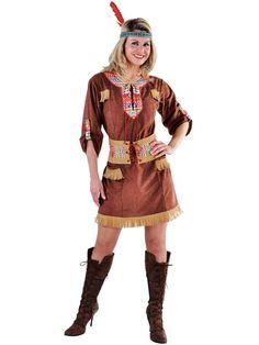 Bruine indianen dames outfit. Leuk indianenjurkje in suede look met gekleurde accenten. Dit indianen kostuum is exclusief accessoires. Carnavalskleding 2015 #carnaval