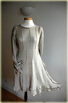 Grey Linen Asymmetric Knitted Long Sleeved Tunic by malowanelnem, $86.00