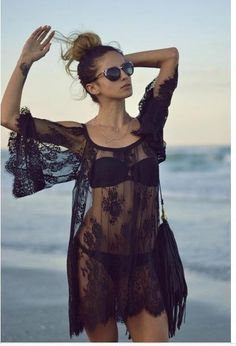 Ladies sexy lace swimsuit cover up dresses robe tunique de plage see through shirts bathing suit beach dress tunic cover ups Bikini Cover Up, Swimsuit Cover Ups, Lace Swimsuit, Swim Cover, Lace Bikini, Bikini Beach, Outfit Strand, Sexy Lace Dress, Boho Dress