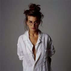 Style - Minimal + Classic: Messy top knot, basic white shirt- paired with retro 90s glasses