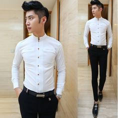 Find More Casual Shirts Information about Recommendation Chinese Style Grandad Collar Cool Shirt Slim Fit Blue Black White Dropping Shipping,High Quality Casual Shirts from Great Store -- Manufactory Supply on Aliexpress.com