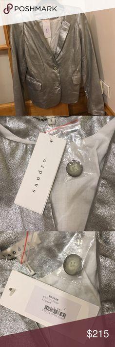 🎉HOST PICK🎉Sandro Silver leather jacket NEW Brand new with tags Sandro silver leather jacket Sandro Jackets & Coats Blazers
