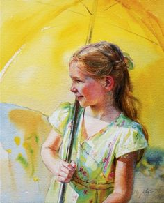 Mary Whyte yellow umbrella and girl Yellow Umbrella, Umbrella Art, Watercolor Portraits, Watercolor Paintings, Watercolors, Portrait Paintings, African American Art, Art Themes, People Art