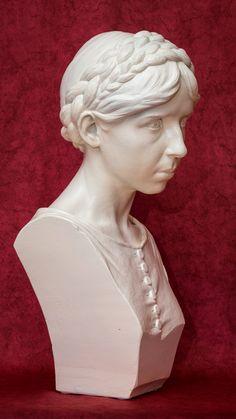Portrait bust by Daniel Stocker (white ceramic - originally dark surface - later painted white, 53 cm)