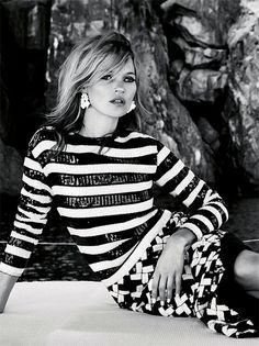 "Stunningly Beautiful Editorials - Kate Moss in ""Sail Away"" Summer's Symphony Of Stunning Nostalgia by Patrick Demarchelier for Vogue UK June 2013"