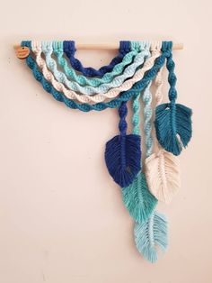 B l u e s ~ Upside down Rainbow Wall Hanging Macrame Design, Macrame Art, Macrame Projects, Diy Craft Projects, Diy Hammock, Rainbow Wall, Mosaic Crafts, Macrame Patterns, Blue Colour Palette