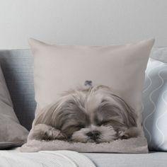 'Shih Tzu Sleeping' Throw Pillow by The Curious Dog Shop Shih Tzu Dog, Shih Tzus, Dog Shop, Designer Throw Pillows, Fleas, Puppy Love, Cute Puppies, Fur Babies, Your Dog