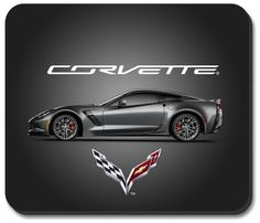 C7 Corvette Gray Vette Computer Mouse Pad featuring a non-slip rubber backing that will work with any mouse type, optical or ball. Image is a clear, highly detailed representation. Spruce up your work