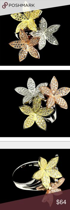 Tri-color Sterling Silver Flower Ring 3 flower ring with sparkling CZs. Sterling silver, rose and yellow gold finishes. Size 7 Jewelry Rings