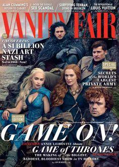 Game of Thrones cast : Emilia Clarke, Peter Dinklage, Lena Headey, Kit Harrington, Nikolaj Coster Waldau on the cover of Vanity Fair, photographed by Annie Leibovitz