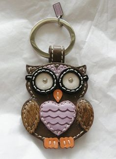 New Coach 92918 Leather Purple Brown Owl Key Fob Keychain Key Ring Fob | eBay